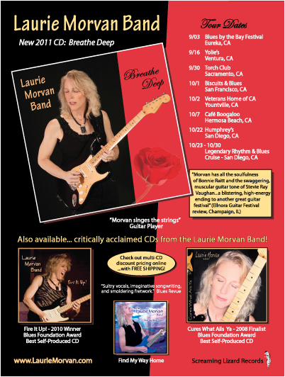 Laurie Morvan Band, full page color ad in Oct 2011 issue of Blues Revue