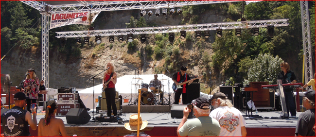 Laurie Morvan Band blazing the blues at the Redwood Run in Piercy, CA
