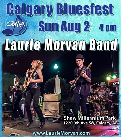 The Calgary Bluesfest in Alberta Canada hosts the Laurie Morvan Band at 4pm on August 2, 2020
