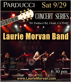 Laurie Morvan Band playing Parducci Winery Concert Series in Ukiah on 9/29/18
