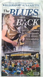 Laurie Morvan Band on front page of Williamsport Sun-Gazette June 13, 2011