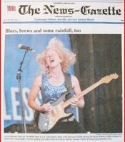 Laurie Morvan Band makes front page news for the Champaign News Gazette on June 29, 2013