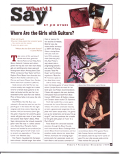 Elmore Magazine article by Jim Hynes entitled, Where Are The Girls With Guitars?