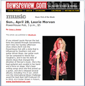 Laurie Morvan Band is the Music Pick of the Week by Sacramento News and Reviews